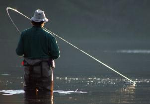 Man fishing in Southeast Alaska