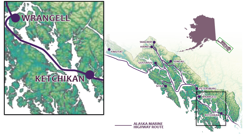 map of Inside Passage highlighting Ketchikan