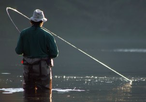 Man fishing in Southeast Alaska