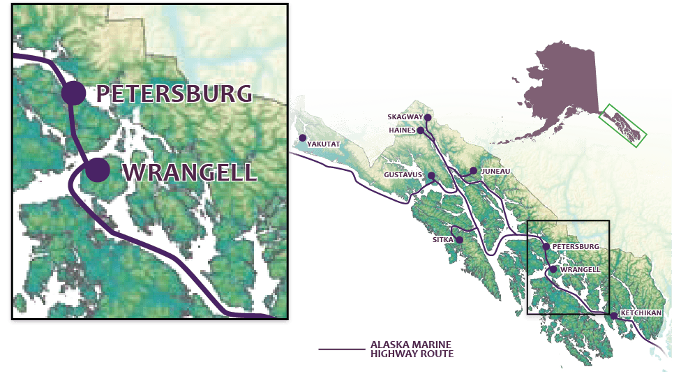 map of Inside Passage highlighting Wrangell